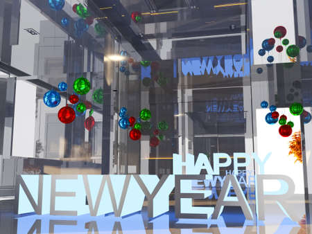 text room: Happy new year blue light 3D text on empty room background