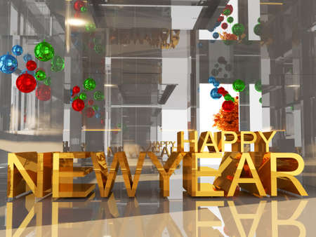 year 3d: Happy new year 3D text on silver empty room background