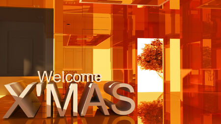welcom: Welcom to merry Christmas 3D text on Gold empty room background
