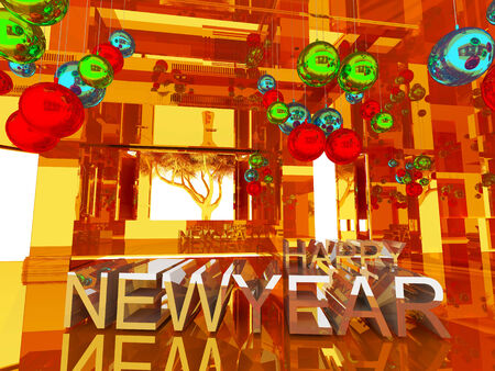 text room: Happy new year 3D text on Gold empty room background