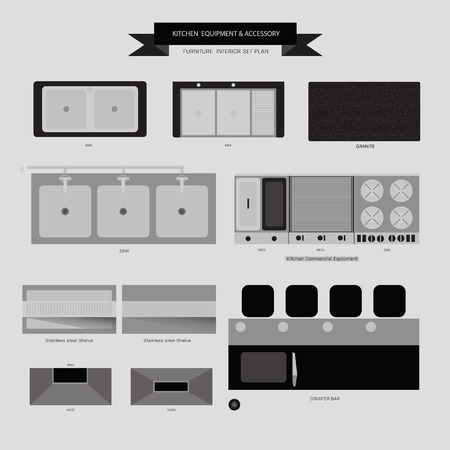 home furniture: Kitchen Equipment and Accessory Furniture Icon, Top View for Interior Plan