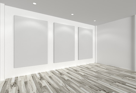 canvas on wall: Empty room interior with white canvas on white wall in the gallery