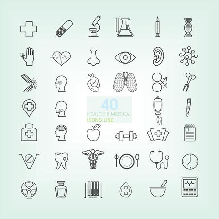 40 Medical & Health moda delgada l�nea y simples iconos