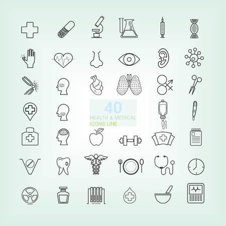 40 Medical & Health Trendy thin Line and simple icons 向量圖像