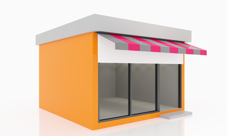 shop show window: Modern Empty Shop windows orange kiosk exterior with blank white sign Stock Photo
