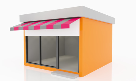 boutique display: Modern Empty Shop windows orange kiosk exterior with blank white sign Stock Photo