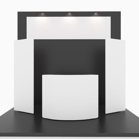 trade show: Blank black trade show booth on white background