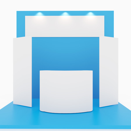 Blank blue trade show booth on white background Foto de archivo