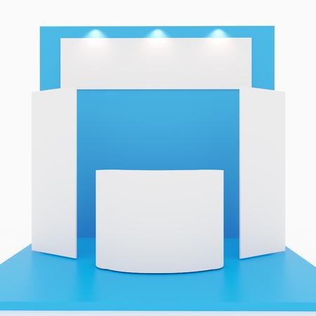 Azul en blanco stand de feria en el fondo blanco