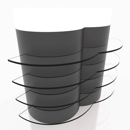 light box: Black curve glass shelves design with light box head on white background Stock Photo