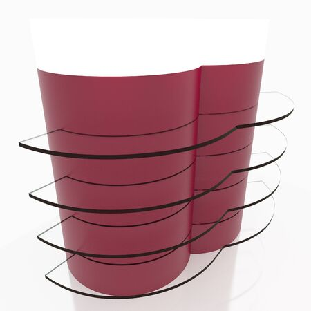 light box: Red curve glass shelves design with light box head on white background
