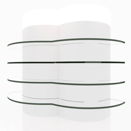 light box: White curve glass shelves design with light box head on white background Stock Photo