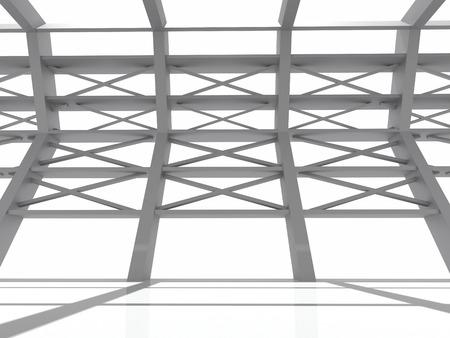 arquitectura abstracta: Arquitectura. edificio gris abstracto y refleja el suelo sobre un fondo blanco