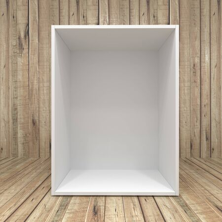 Blank white box on Wooden background