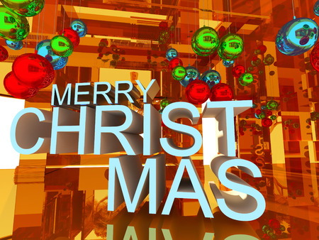 text room: Welcom to merry Christmas 3D text on Gold empty room background