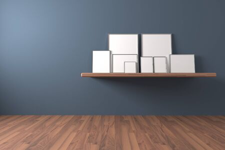 shelve: White blank poster on shelve and drop to the ground in an empty room is painted blue with decorate wood floor. The concept can Image taken place to present their work freely.