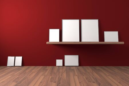 blank photo: White blank poster on shelve and drop to the ground in an empty room is painted red with decorate wood floor. The concept can Image taken place to present their work freely.