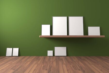 shelve: White blank poster on shelve and drop to the ground in an empty room is painted green with decorate wood floor. The concept can Image taken place to present their work freely. Stock Photo