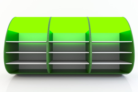 Green empty shelve design curve style isolate on white background.  photo
