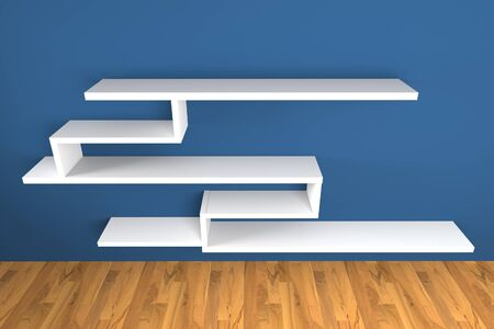 organized group: Shelf on blue wall decorate wood floor with copy space