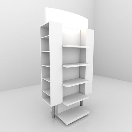 retail: Color white shelves design on white background
