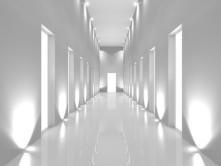 Illuminated long corridor in modern office building, Light exit Stock Photo