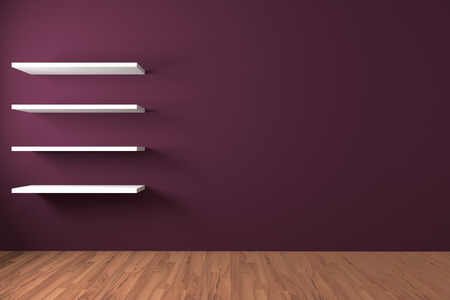 design element: Shelf on Purple wall decorate wood floor with copy space