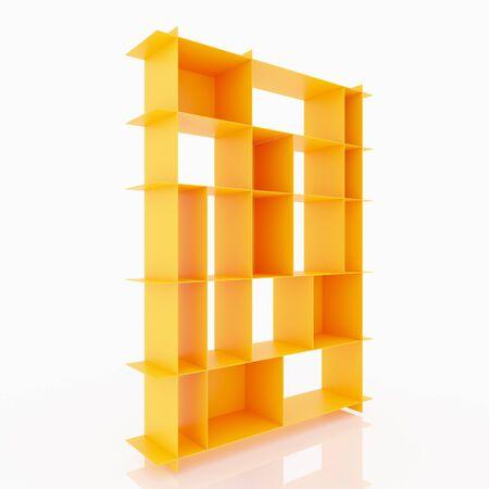 aluminium  design: Orange aluminium shelves design thin style on white background