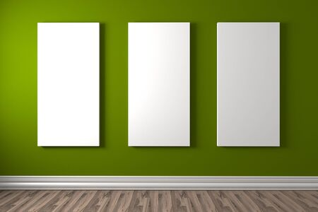 canvas on wall: Empty room with white canvas on a blue wall in the gallery