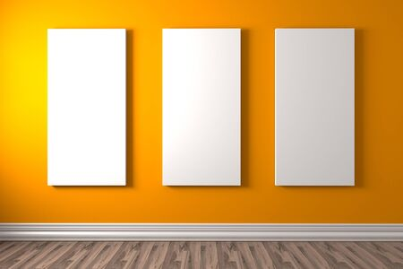 canvas on wall: Empty room with white canvas on a orange wall in the gallery Stock Photo