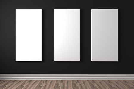 canvas on wall: Empty room with white canvas on a black wall in the gallery Stock Photo