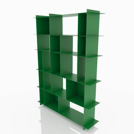 aluminium  design: Green aluminium shelves design thin style on white background