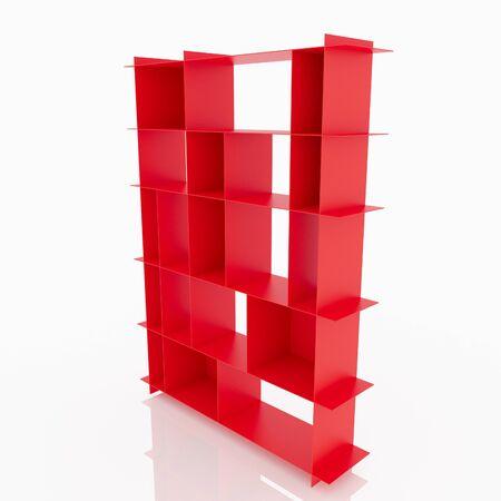 aluminium  design: Red aluminium shelves design thin style on white background Stock Photo