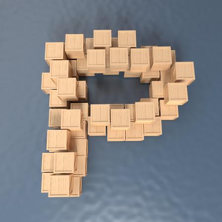 letter box: Alphabet Crate - texture wood - font 3d render , P,  Paths save