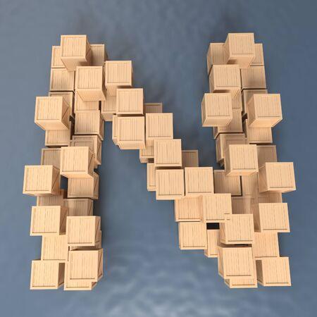 business letter: Alphabet Crate - texture wood - font 3d render , N,  Paths save