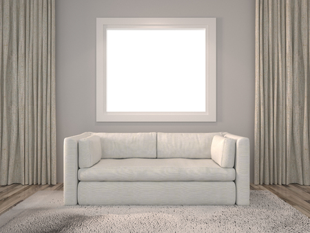 rendering: 3D Rendering. Modern interior Living room with white window and a beautiful white sofa furniture