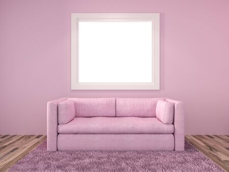 3D Rendering. Modern interior pink Living room with window and a beautiful white sofa furniture