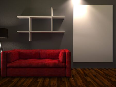 art exhibition: 3D Rendering. Modern interior room with white canvas and a beautiful red sofa furniture