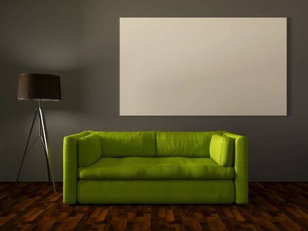 sofa furniture: 3D rendering, Modern interior room with white canvas and a beautiful green sofa furniture Stock Photo