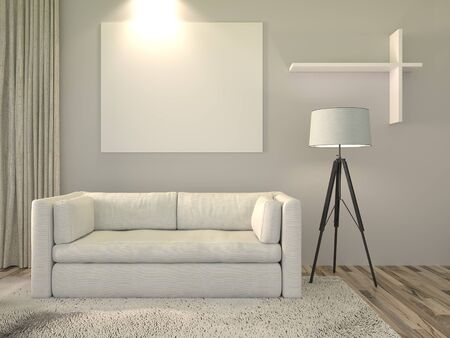 white sofa: 3D Rendering. Modern interior white room with white canvas and a beautiful white sofa furniture