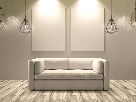 canvas background: 3D Rendering. White canvas for images hanging on a wall with a beautiful white sofa furniture Stock Photo