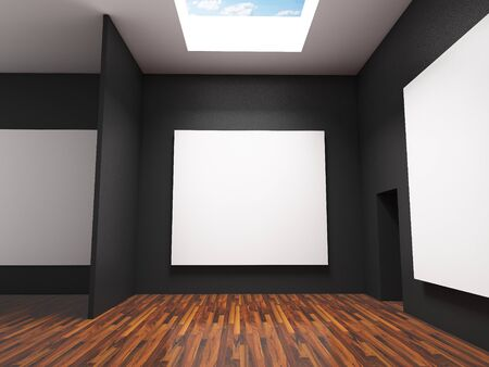 canvas on wall: Empty room interior with large white canvas on black wall in the gallery