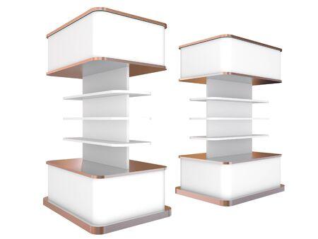 Color white shelves design on white background, 3D rendering