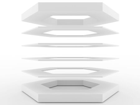 shelve: Shelve design floating in the air, 3D Rendering Stock Photo