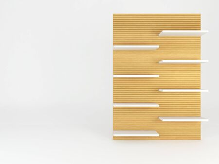 frame  box: Wood shelve design on white background, 3d illustration