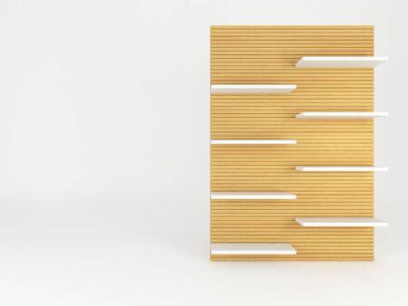 empty frame: Wood shelve design on white background, 3d illustration