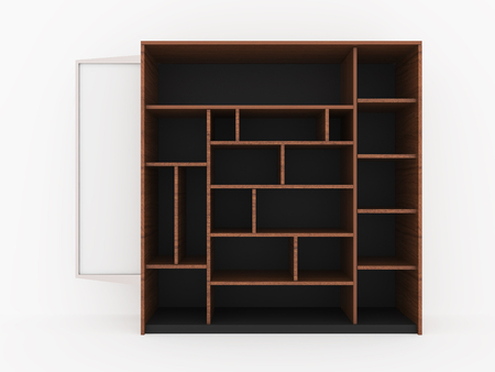 Wood shelves design with blank white promote on white background, 3D Rendering