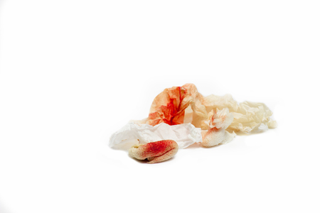 Blood on tissue and cotton on white isolate background  with copy space Stock Photo