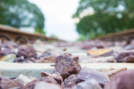 Stone on the rail way on the morning with copy space Stock Photo
