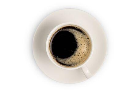 Kaffeetasse Draufsicht isoliert auf weißem Hintergrund Standard-Bild